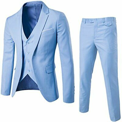 Men's Mage Male Light Blue 3-Piece Slim Fit One Button Suit Size Xs