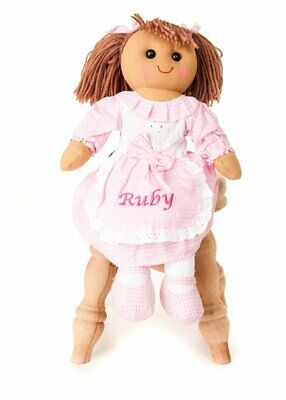 Hoolaroo Personalised Embroidered Girls Vintage Pink Gingham Rag Doll 40cm Doll