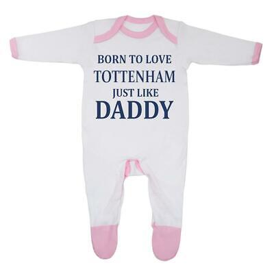 'Born To Love Tottenham Just Like Daddy' Baby 0 - 3 Months, White/Pink Trim
