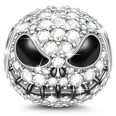 "Jeulia""Jack Skull"" Charm Black Plated 925 Sterling Silver Beads Charms for..."