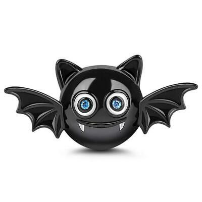 "Jeulia""Adorable Evil Bat"" Bead Charm in 925 Sterling Silver Black Charms..."