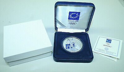 GRIECHENLAND: 10 Euro 2004: OLYMPIADE ATHEN - DISKUSWERFER, Silber PP Box COA 17