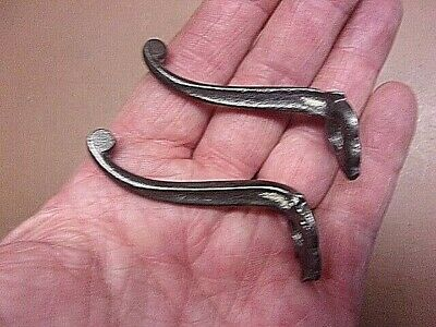 """Vintage Pair of Tiny Cast Iron Wall Hooks 2"""" x 2"""" Dainty Small Collectibles!"""