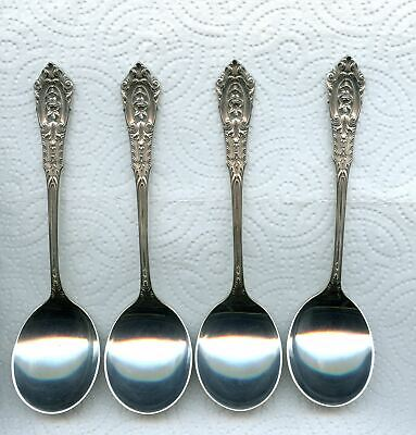 4 Rose Point Cream Soup Spoons 5-7/8 Inch by Wallace Sterling Silver 4pc