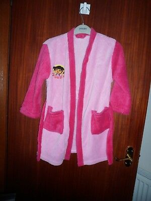girls pale/deep pink Nickelodeon Dora dressing gown age 4-5 years tiers to close