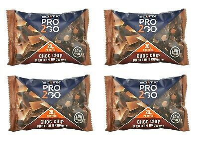 x4 SCI-MX PRO 2GO PROTEIN BAR BROWNIES 65g CHOCOLATE CHIP - BBE 30/09/19