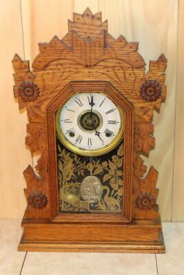 Antique Gilbert 'HAWK.' 8 Day Spoon Carved Eastlake Parlor Clock ~ Oak ~