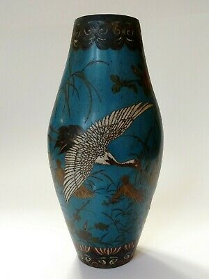 """Antique Chinese or Japanese cloisonné crane vase A/F 12"""" Tall"""