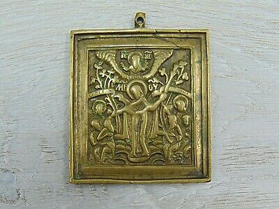Antique 19th Russian Orthodox bronze icon Mother of God