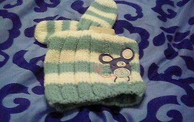 BNWT BABY GIRLS NEXT WINTER embroidered mouse beanie hat and mitts 12-24 months.