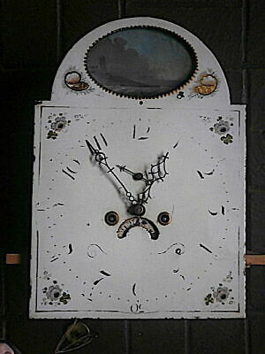 C1820 8 day LONGCASE GRANDFATHER CLOCK DIAL+movement 13x18 inch rocking ship NOW