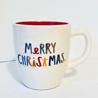 """New Rae Dunn by Magenta Colorful Letters """"Merry Christmas"""" Ivory Mug Red Inside"""