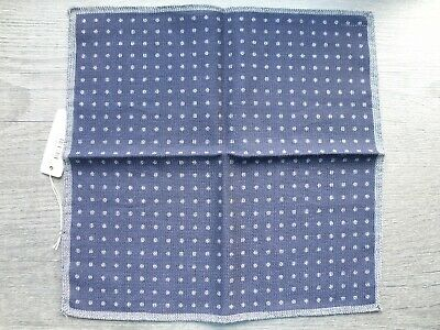 New Eton Wool & Silk Blue Pochette Pocket Square Handkerchief Made In Italy