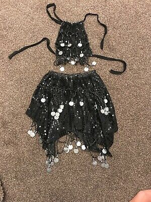 Girls Belly Dance Costume Outfit approx 4-7 yrs black and silver