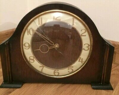 Smiths Mid Century Flat Back Wooden Mantle Clock 1950