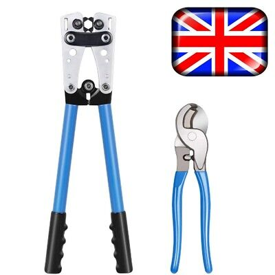 6-50mm² Crimping Tool Cable Wire Crimper Pliers Electrician Ratchet Crimp Set UK