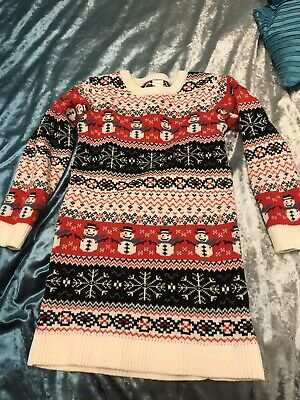 Next girls Christmas Xmas Wrapping Jumper Dress tunic Red And White Size 7 Yrs