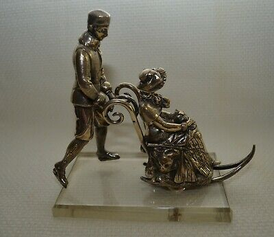 """c.1890's Austria Silver Plated Bronze """"Couple Skating on Ice"""" Mounted on Glass"""