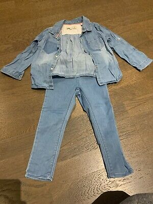 Zara Girls Outfit/Denim Shirt & Jeans 2-3 Years