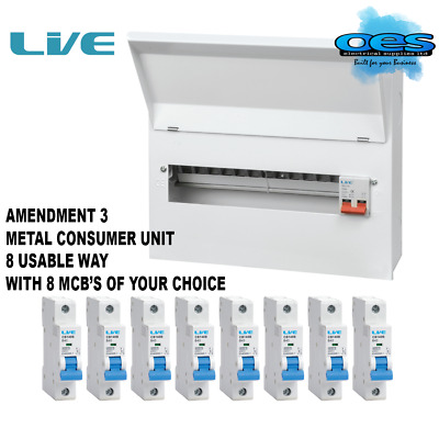 Metal Consumer Unit 8 Usable Ways 100A Main Switch With 8 X Mcb's Amendment 3