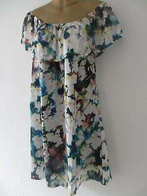 Soho womens off shoulder white floral summer sundress dress one size fits 10-14