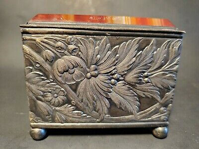 Simpson Hall Miller & Co AGATE Silver Plate TRINKET BOX  VICTORIAN raised relief