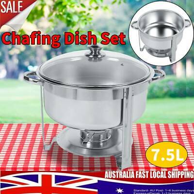 Round Stainless Steel Chafer Bain Marie Chafing Dishes Buffet Food Warmer Heater
