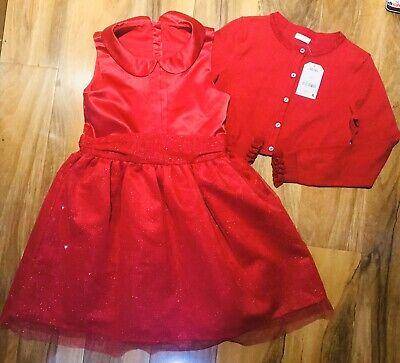 New Gorgeous Next Red Sparkle Christmas Party Dress & Cardigan Outfit Age 9 Yrs.