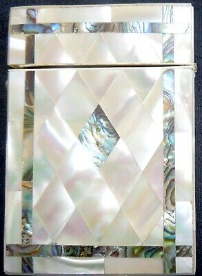 Antique CARD CASE Mother-of-Pearl & Abalone * Geometric Diamond * FREE SHIPPING*