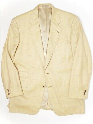 Chester Barrie Mens Cashmere Sport Coat 44L Golden Yellow Blue Windowpane Jacket
