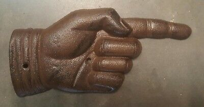 Pointing Hand Sign Plaque made of cast iron metal with rustic brown finish