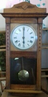 Art Deco Wall Clock. Oak,8 Day Strikes  Hour & half hour. Mechanical