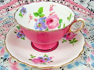 Atlas Grimwades Hot Pink Rose Floral Tea Cup And Saucer