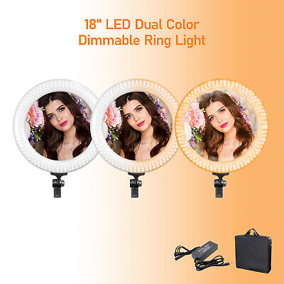 """Dimmable LED Ring Light 18"""" White/Yellow Selfie Lighting Kit with Carry Bag"""