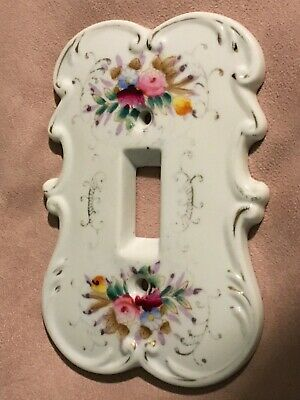 Vintage Arnart Creations Porcelain Single Light Switch Plate Cover White/Multi
