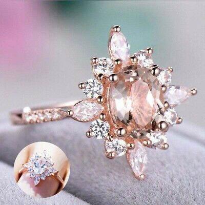 Rose Gold Ring Champagne Cut Size 6-10 Filled Wedding Gorgeous Crystal Oval