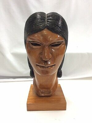 Hand Carved Great Detail Native American Cherry Wood Bust W/ Black Braided Hair