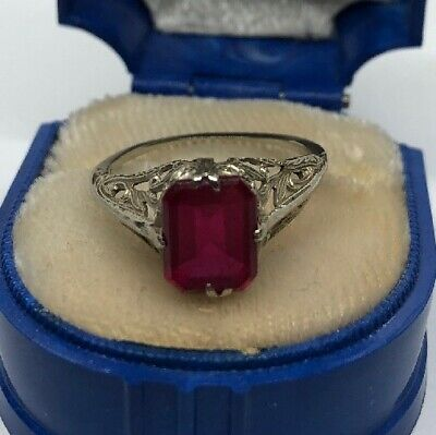Antique 1930s Art DECO Ruby 14k White Gold Solitaire Filigree Vtg Emerald Cut