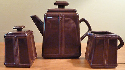 Contemporary Chantal art deco inspired teapot, sugar bowl, creamer - dark brown