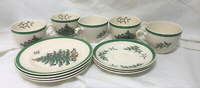 Lot of 12 Spode CHRISTMAS TREE Cups, Saucers, Salad Plates