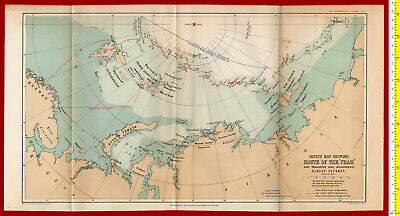 #39572 England 1897. Map, Route of the Fram [North Pole]. Royal Geogr Society