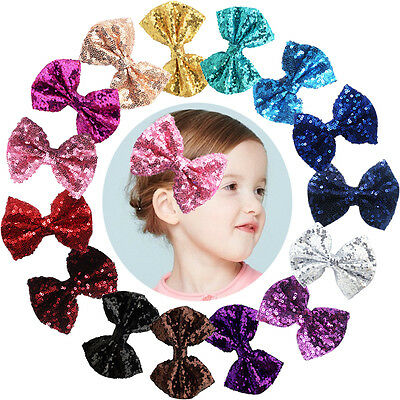 "15pcs Glitter Sequins 4"" Hair Bows Clip Bling Sparkly Party Bows Alligator Clips"
