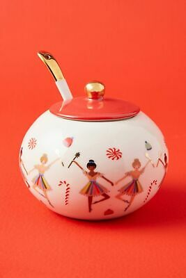 Anthropologie Rifle Paper Co Sugar Plum Fairies Sugar Pot & Spoon Nutcracker NEW