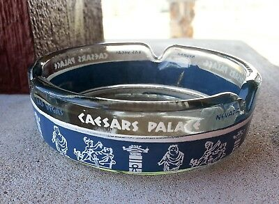 Caesars Palace Ashtray Hotel Casino Round Glass Blue Trim Vintage