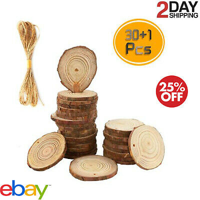 30Pcs Christmas Tree Ornaments DIY Natural Wood Slices Festival Decorations Gift