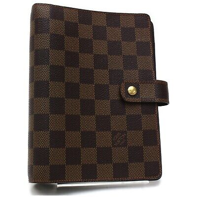 Authentic Louis Vuitton Diary Cover Agenda MM Browns Damier 812575