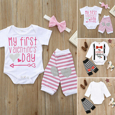 Newborn Baby Boys Girl Valentine's Day Clothes Long Sleeve Romper+Socks Outfits