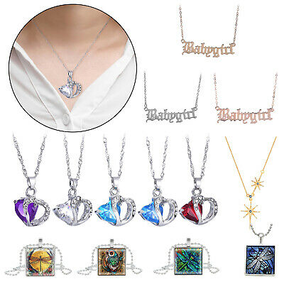 Women Love Heart Crystal Pendant Necklace Fashion Rhinestone Choker Display Gift
