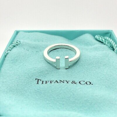 Tiffany & Co Sterling Silver 925 T Square Ring Band Sz 7