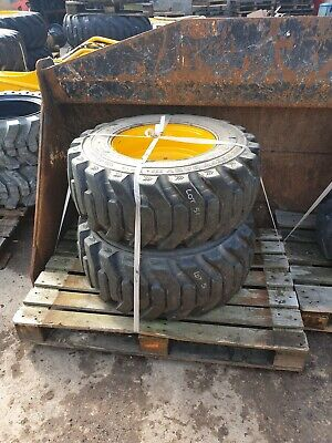 Set Of 4X Galaxy Beefy Baby 12.5X16.5 Tyres On Jcb 8 Stud Rims